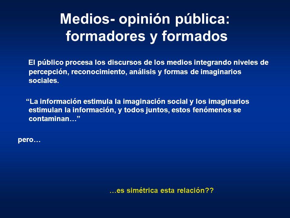 Medios- opinión pública: formadores y formados El público procesa los discursos de los medios integrando niveles de percepción, reconocimiento, anális