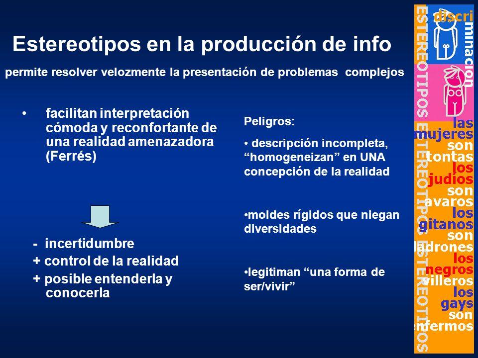 Estereotipos en la producción de info facilitan interpretación cómoda y reconfortante de una realidad amenazadora (Ferrés) - incertidumbre + control d