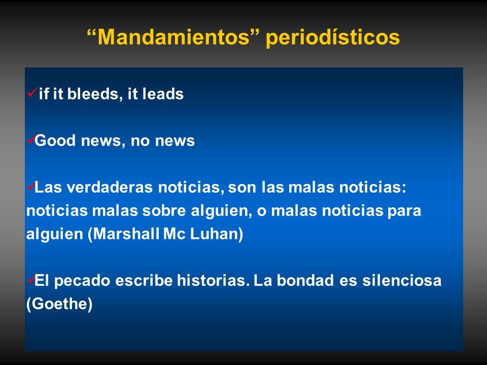 Mandamientos periodísticos if it bleeds, it leads Good news, no news Las verdaderas noticias, son las malas noticias: noticias malas sobre alguien, o