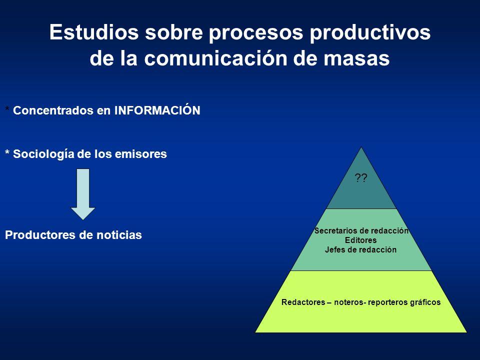 Estudios sobre procesos productivos de la comunicación de masas * Concentrados en INFORMACIÓN * Sociología de los emisores ?? Secretarios de redacción