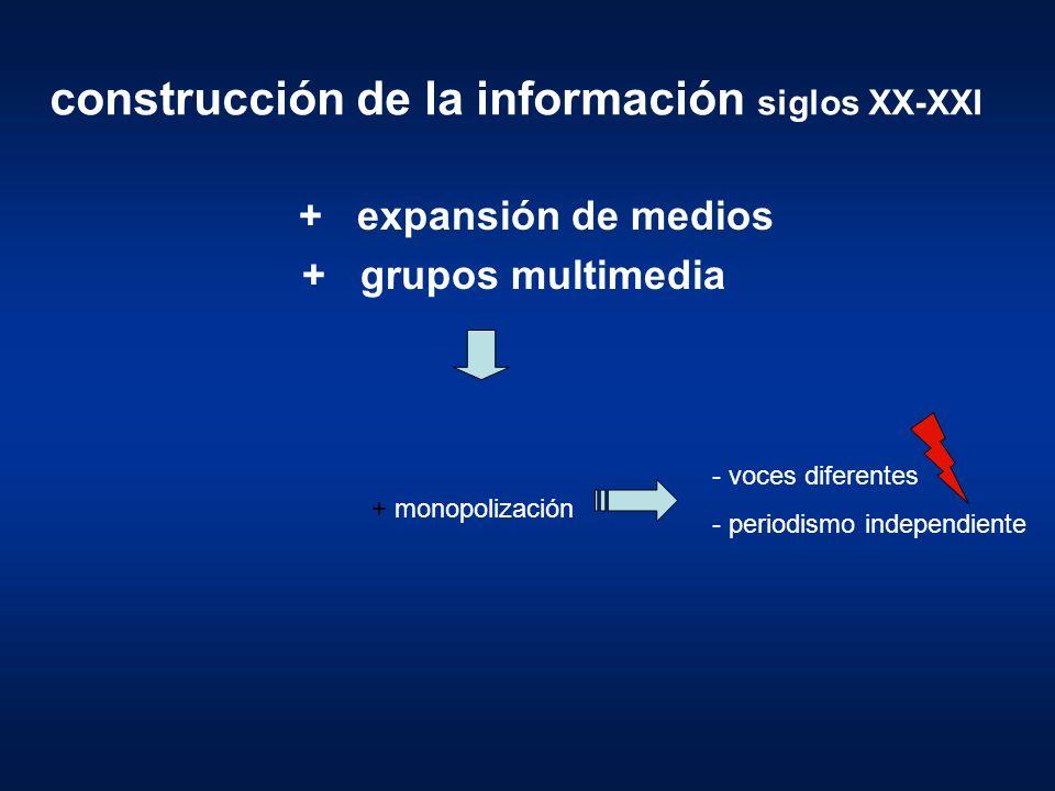 construcción de la información siglos XX-XXI + expansión de medios + grupos multimedia + monopolización - voces diferentes - periodismo independiente