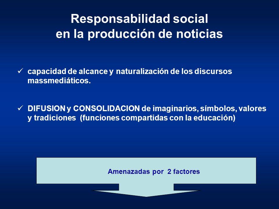 Responsabilidad social en la producción de noticias capacidad de alcance y naturalización de los discursos massmediáticos. DIFUSION y CONSOLIDACION de