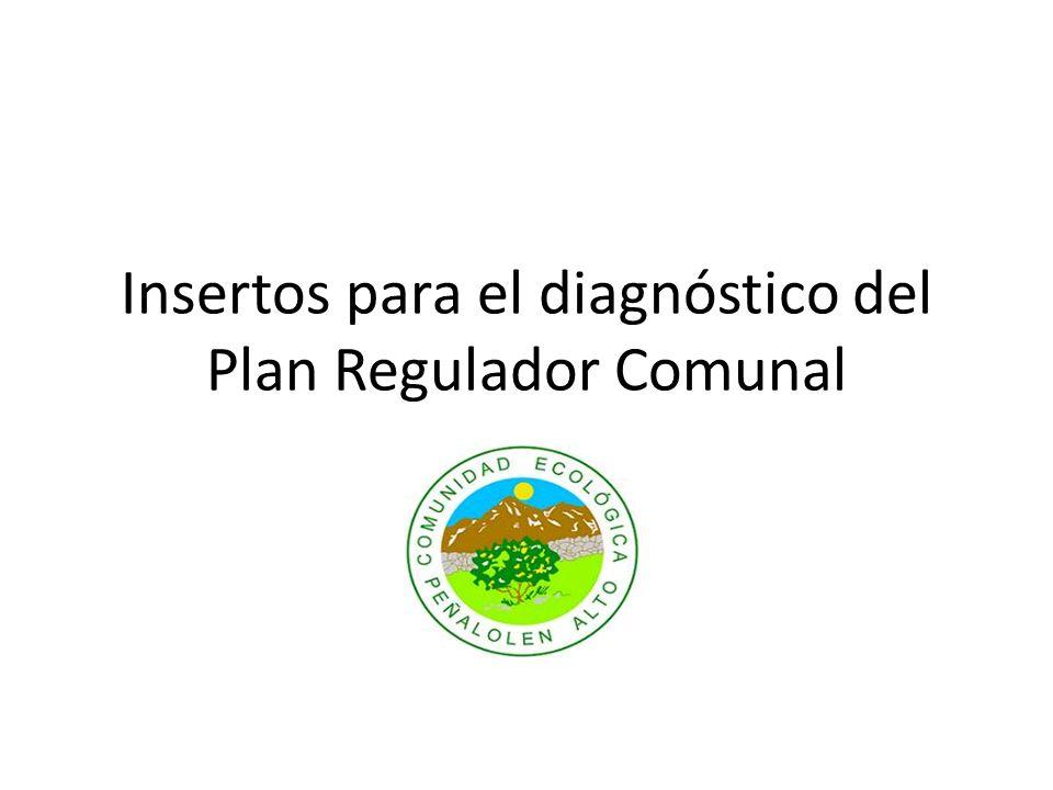 Insertos para el diagnóstico del Plan Regulador Comunal