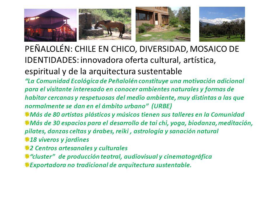 PEÑALOLÉN: CHILE EN CHICO, DIVERSIDAD, MOSAICO DE IDENTIDADES: innovadora oferta cultural, artística, espiritual y de la arquitectura sustentable La C