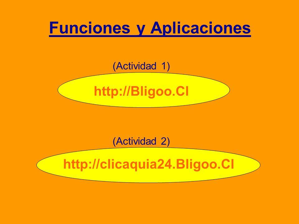 Funciones y Aplicaciones http://Bligoo.Cl http://clicaquia24.Bligoo.Cl (Actividad 1) (Actividad 2)