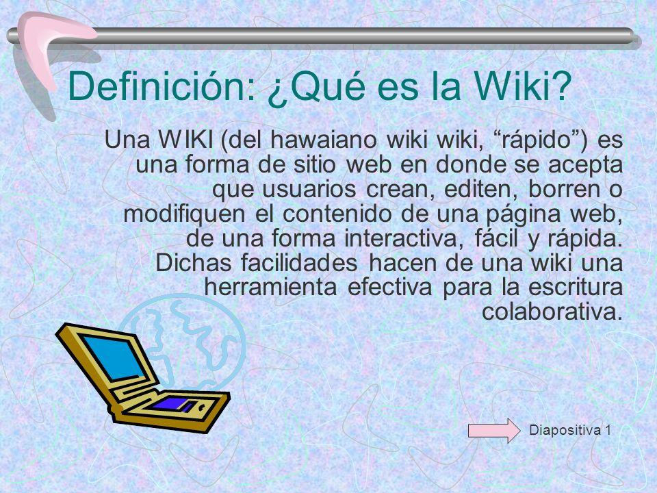El término wiki también se refiere a la colaboración de código para crear programas, en el cual un servidor permite que los documentos allí alojados (las páginas wiki) sean escritos de forma colaborativa a través de un navegador, utilizando una notación sencilla para dar formato, crear enlaces, etc.
