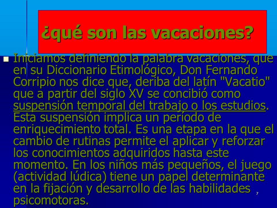 7 Iniciamos definiendo la palabra vacaciones, que en su Diccionario Etimológico, Don Fernando Corripio nos dice que, deriba del latín