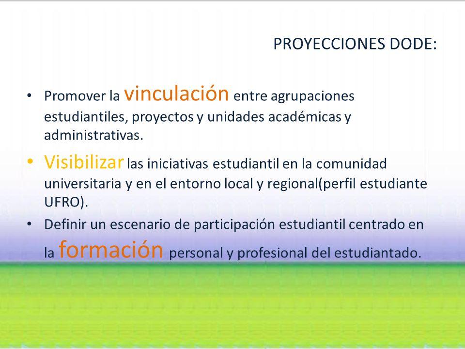 PROYECCIONES DODE: Promover la vinculación entre agrupaciones estudiantiles, proyectos y unidades académicas y administrativas.