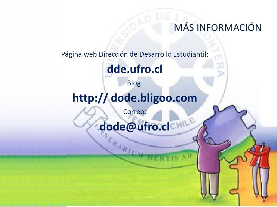 Página web Dirección de Desarrollo Estudiantil: dde.ufro.cl Blog: http:// dode.bligoo.com Correo: dode@ufro.cl MÁS INFORMACIÓN