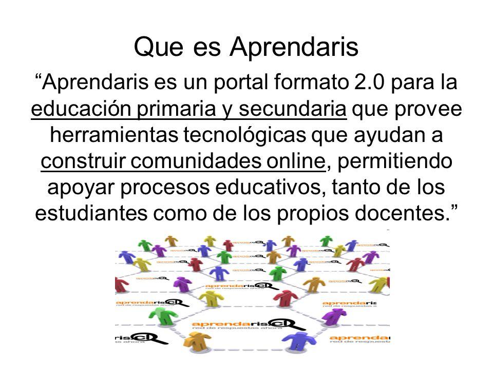 Que es Aprendaris Aprendaris es un portal formato 2.0 para la educación primaria y secundaria que provee herramientas tecnológicas que ayudan a construir comunidades online, permitiendo apoyar procesos educativos, tanto de los estudiantes como de los propios docentes.