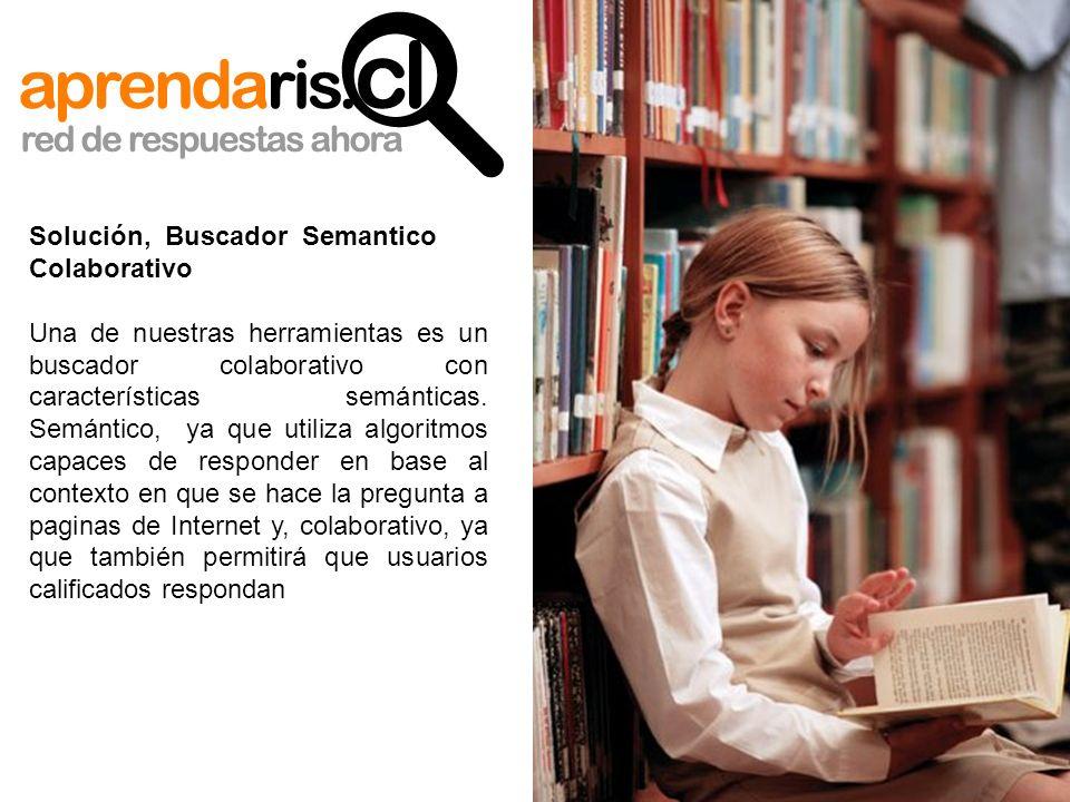 Solución, Buscador Semantico Colaborativo Una de nuestras herramientas es un buscador colaborativo con características semánticas. Semántico, ya que u