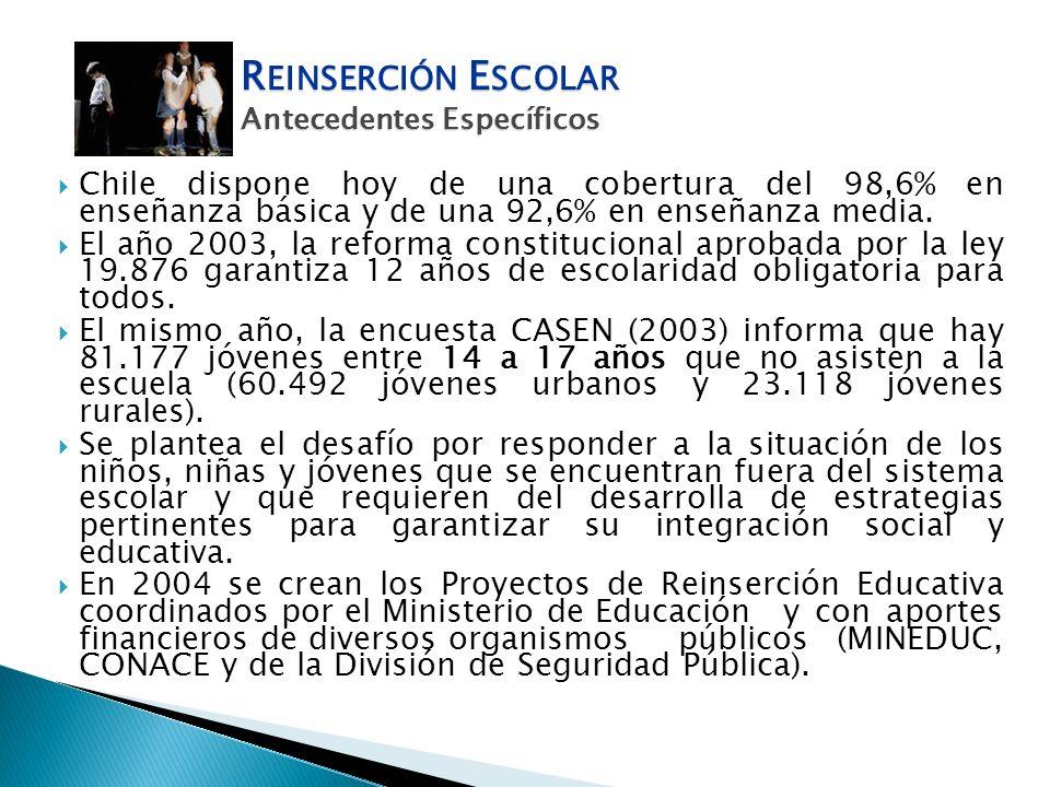 Chile dispone hoy de una cobertura del 98,6% en enseñanza básica y de una 92,6% en enseñanza media. El año 2003, la reforma constitucional aprobada po