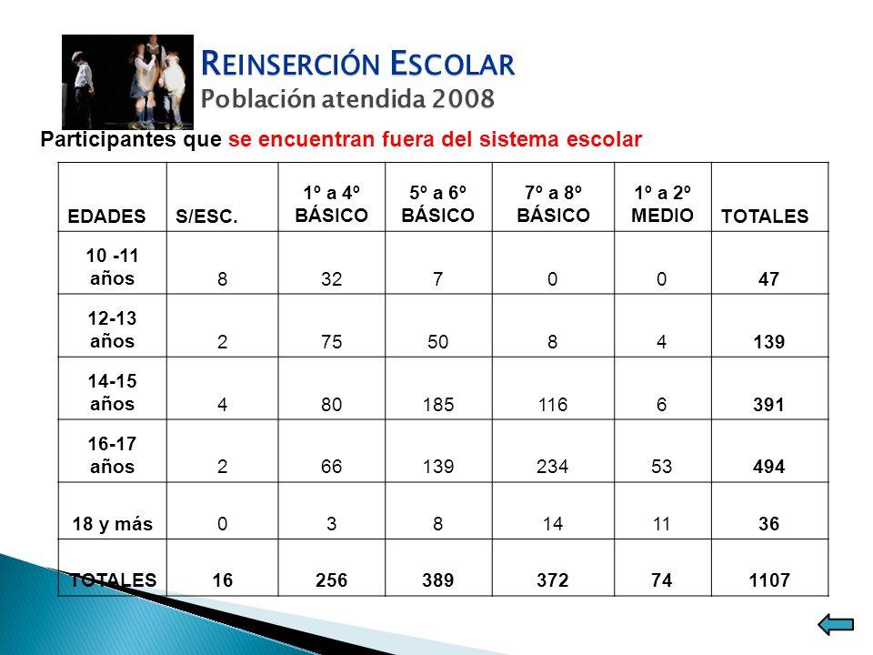 R EINSERCIÓN E SCOLAR Población atendida 2008 Participantes que se encuentran fuera del sistema escolar EDADESS/ESC. 1º a 4º BÁSICO 5º a 6º BÁSICO 7º