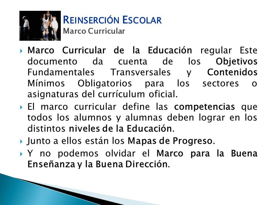 Marco Curricular de la Educación regular Este documento da cuenta de los Objetivos Fundamentales Transversales y Contenidos Mínimos Obligatorios para