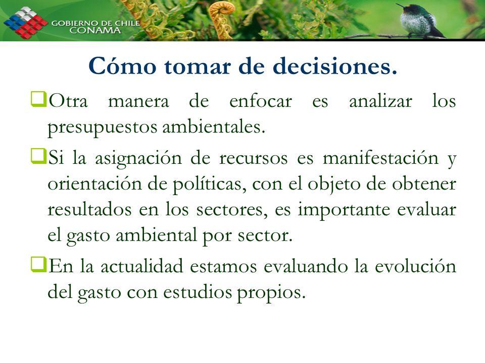 Cómo tomar de decisiones. Otra manera de enfocar es analizar los presupuestos ambientales. Si la asignación de recursos es manifestación y orientación