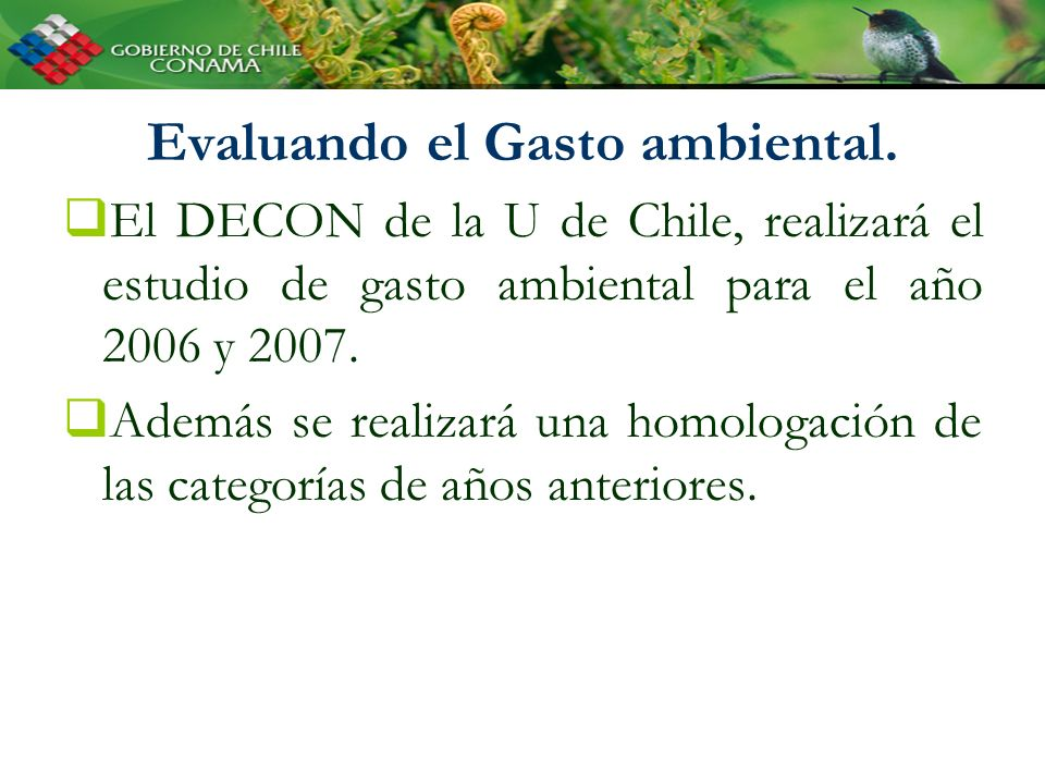 Evaluando el Gasto ambiental. El DECON de la U de Chile, realizará el estudio de gasto ambiental para el año 2006 y 2007. Además se realizará una homo