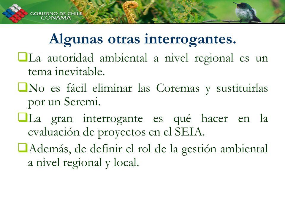 Algunas otras interrogantes. La autoridad ambiental a nivel regional es un tema inevitable.