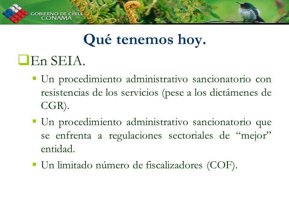 Qué tenemos hoy. En SEIA. Un procedimiento administrativo sancionatorio con resistencias de los servicios (pese a los dictámenes de CGR). Un procedimi