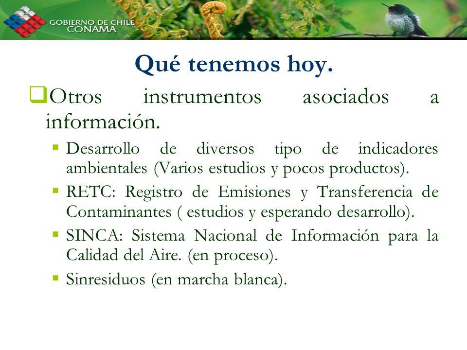 Qué tenemos hoy. Otros instrumentos asociados a información. Desarrollo de diversos tipo de indicadores ambientales (Varios estudios y pocos productos