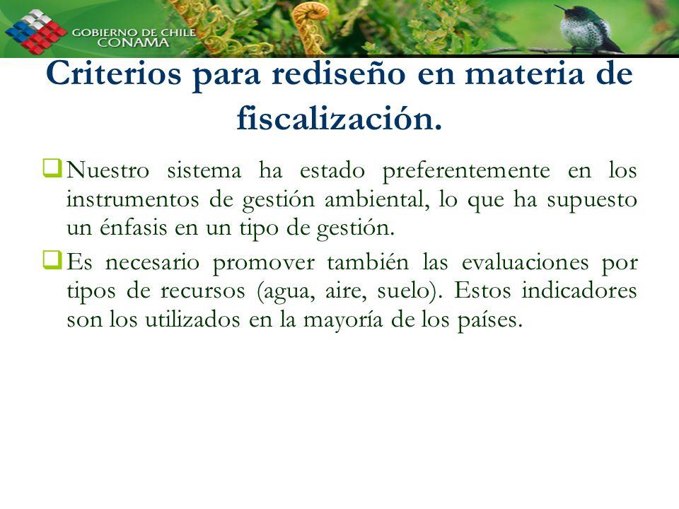 Criterios para rediseño en materia de fiscalización. Nuestro sistema ha estado preferentemente en los instrumentos de gestión ambiental, lo que ha sup