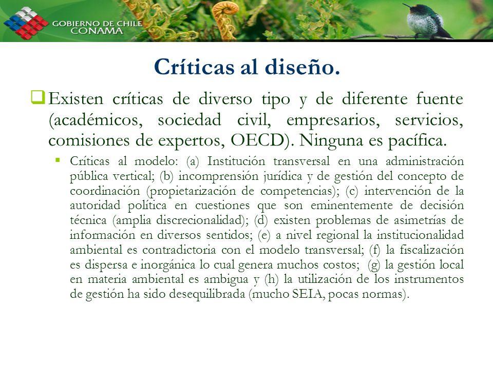 Críticas al diseño. Existen críticas de diverso tipo y de diferente fuente (académicos, sociedad civil, empresarios, servicios, comisiones de expertos