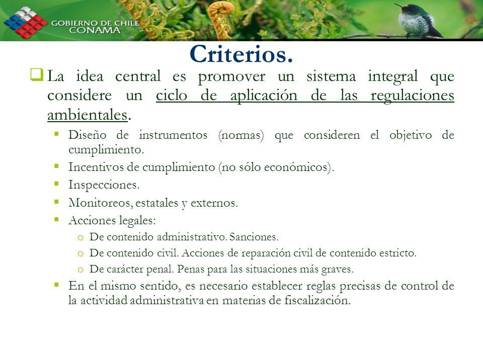 Criterios. La idea central es promover un sistema integral que considere un ciclo de aplicación de las regulaciones ambientales. Diseño de instrumento