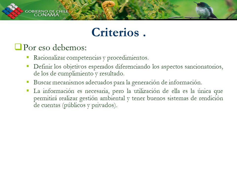 Criterios. Por eso debemos: Racionalizar competencias y procedimientos. Definir los objetivos esperados diferenciando los aspectos sancionatorios, de