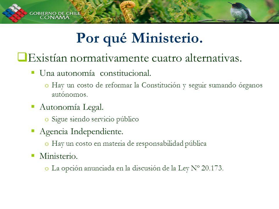 Por qué Ministerio. Existían normativamente cuatro alternativas. Una autonomía constitucional. oHay un costo de reformar la Constitución y seguir suma