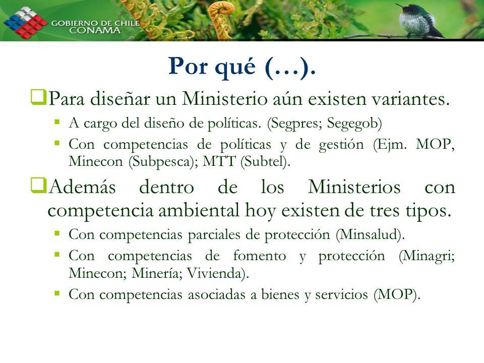 Por qué (…). Para diseñar un Ministerio aún existen variantes. A cargo del diseño de políticas. (Segpres; Segegob) Con competencias de políticas y de