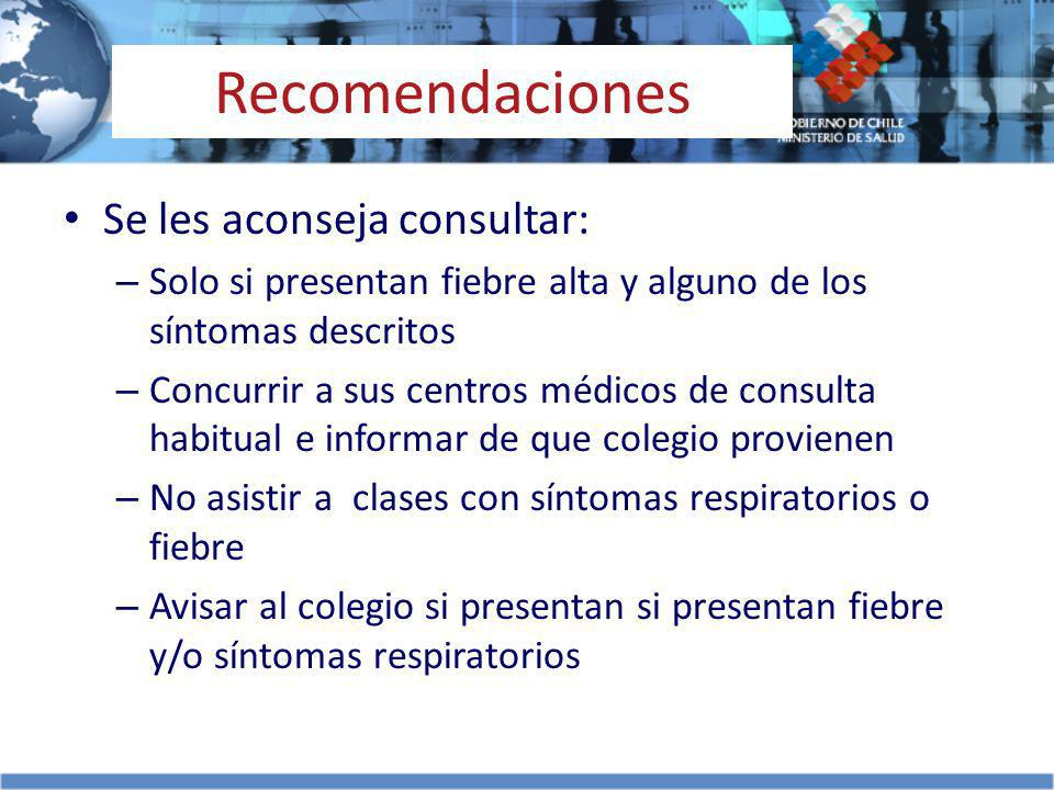 Recomendaciones Se les aconseja consultar: – Solo si presentan fiebre alta y alguno de los síntomas descritos – Concurrir a sus centros médicos de con
