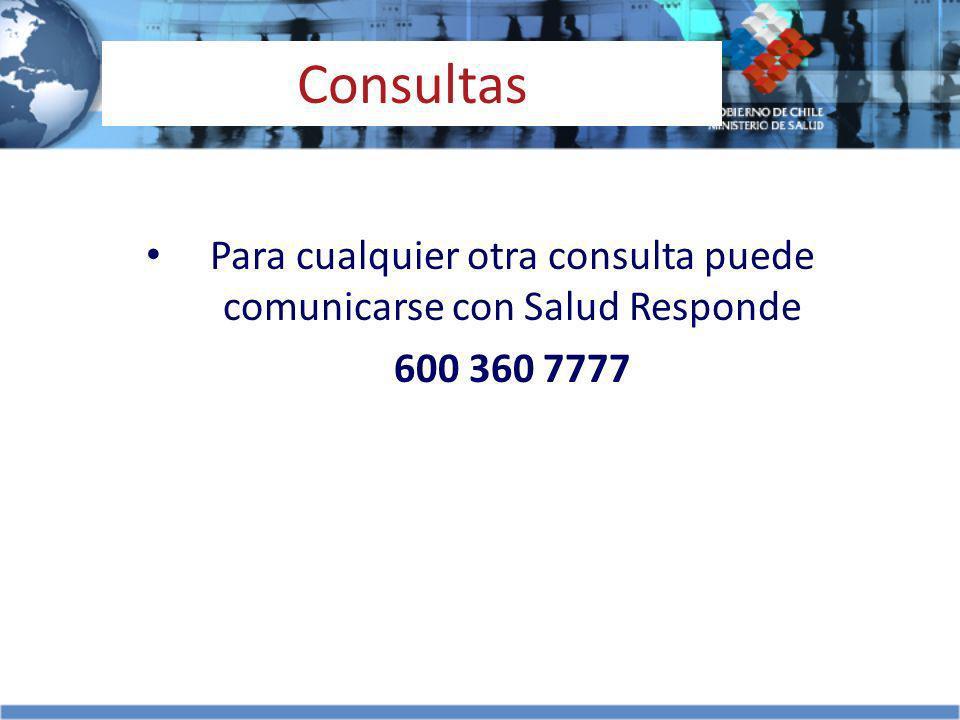 Consultas Para cualquier otra consulta puede comunicarse con Salud Responde 600 360 7777