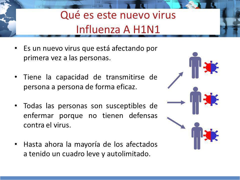 Qué es este nuevo virus Influenza A H1N1 Es un nuevo virus que está afectando por primera vez a las personas. Tiene la capacidad de transmitirse de pe