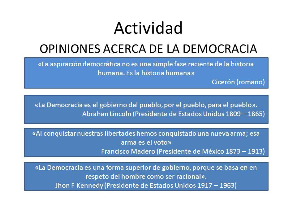 Actividad OPINIONES ACERCA DE LA DEMOCRACIA «La aspiración democrática no es una simple fase reciente de la historia humana. Es la historia humana» Ci
