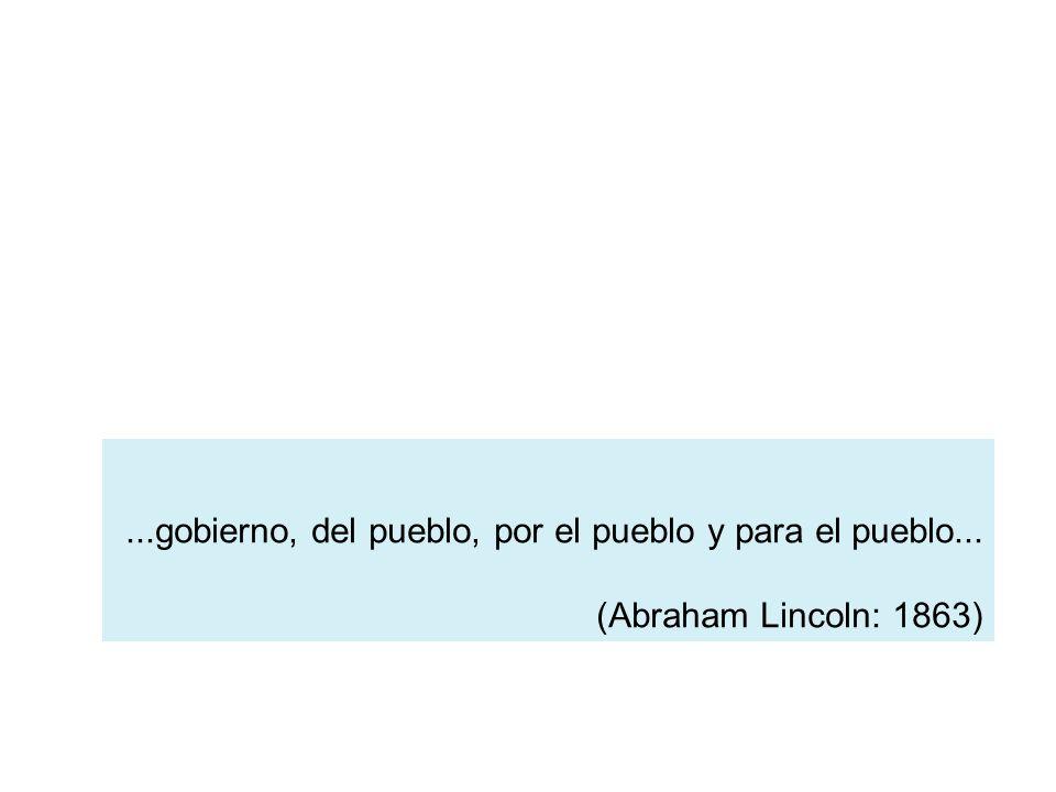 ...gobierno, del pueblo, por el pueblo y para el pueblo... (Abraham Lincoln: 1863)