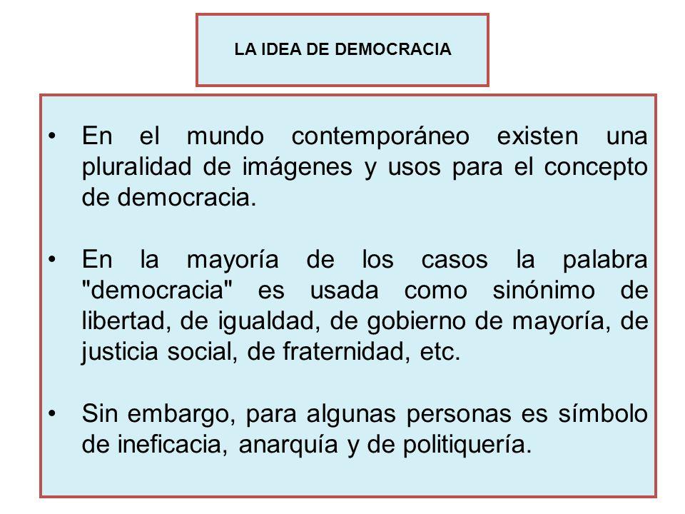 En el mundo contemporáneo existen una pluralidad de imágenes y usos para el concepto de democracia. En la mayoría de los casos la palabra