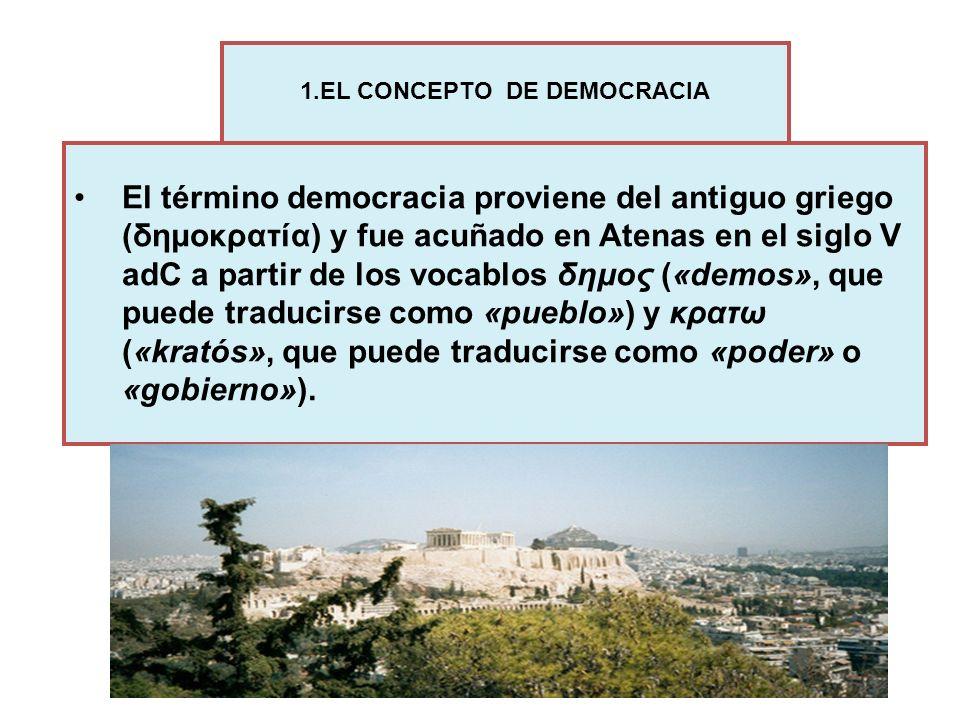 El término democracia proviene del antiguo griego (δημοκρατία) y fue acuñado en Atenas en el siglo V adC a partir de los vocablos δημος («demos», que