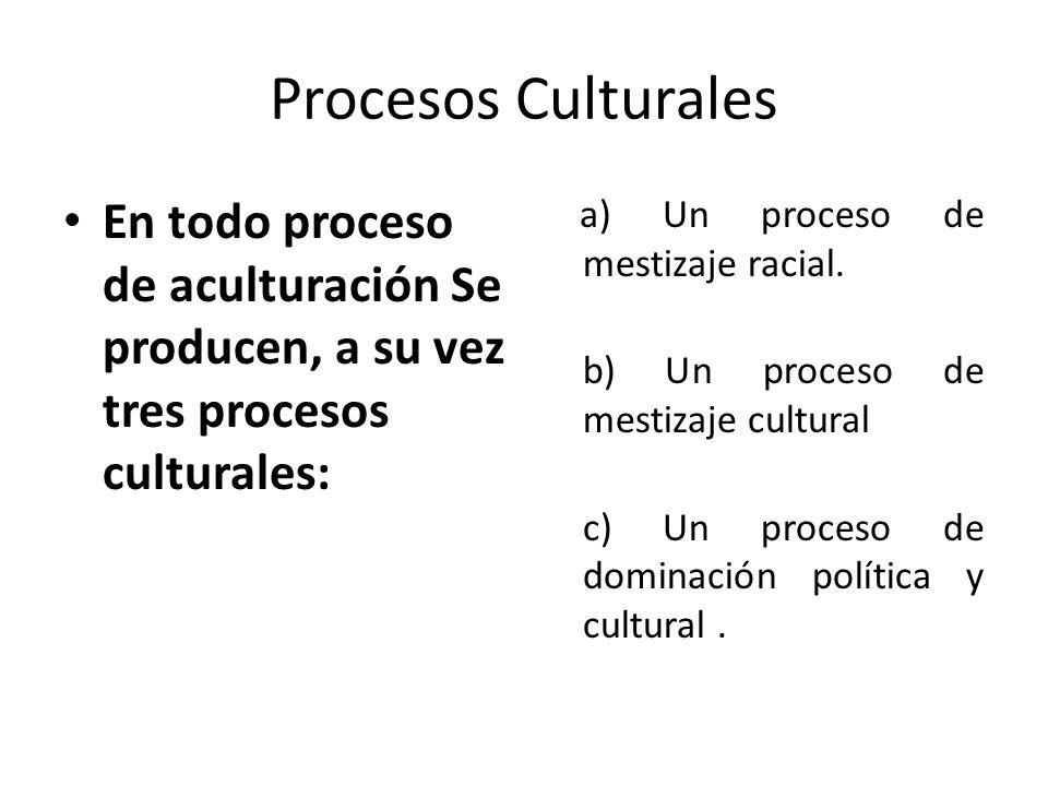 Procesos Culturales En todo proceso de aculturación Se producen, a su vez tres procesos culturales: a) Un proceso de mestizaje racial. b) Un proceso d