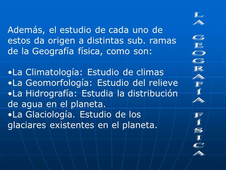 El estudio de cada uno de estos factores geográficos corresponden al relieve, las aguas terrestres, el clima, los hielos y el suelo.