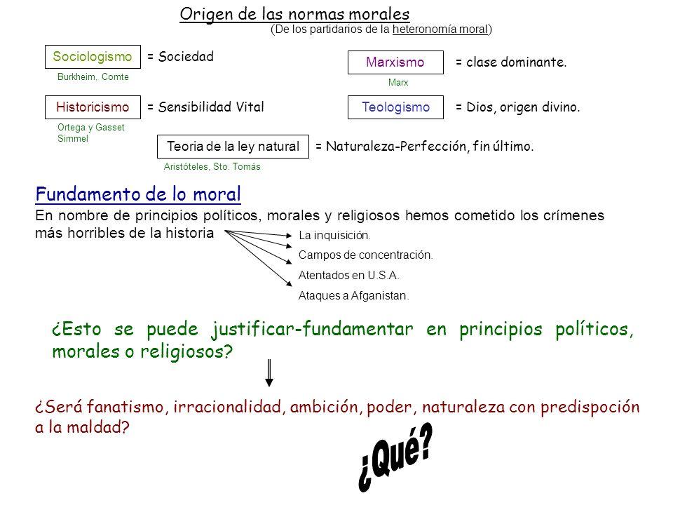 Origen de las normas morales ( De los partidarios de la heteronomía moral ) Sociologismo Historicismo Marxismo Teologismo Teoria de la ley natural = c