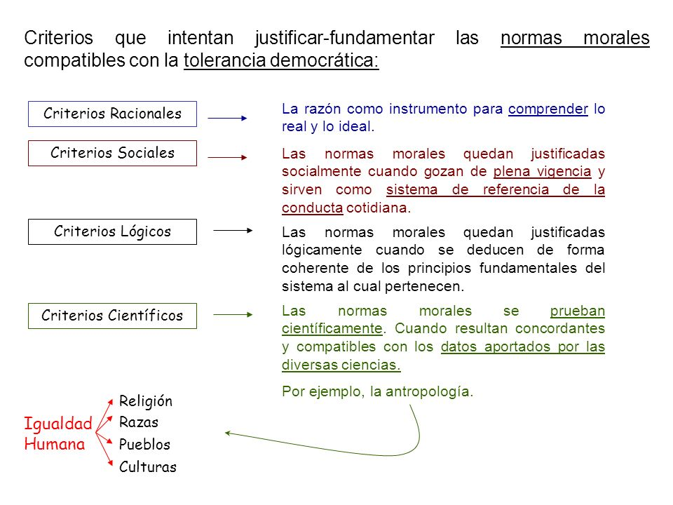 Criterios que intentan justificar-fundamentar las normas morales compatibles con la tolerancia democrática: Criterios Racionales Criterios Sociales Cr
