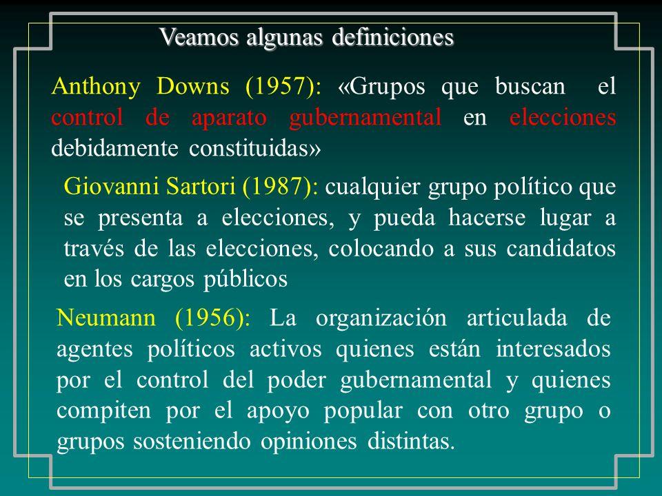 Veamos algunas definiciones Anthony Downs (1957): «Grupos que buscan el control de aparato gubernamental en elecciones debidamente constituidas» Giova