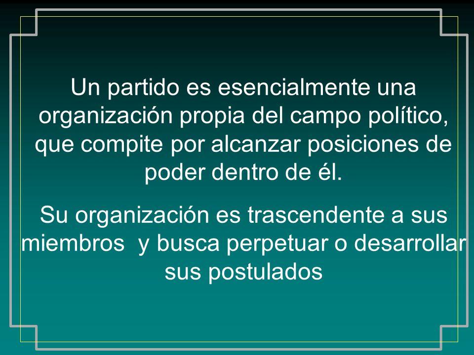 Un partido es esencialmente una organización propia del campo político, que compite por alcanzar posiciones de poder dentro de él. Su organización es