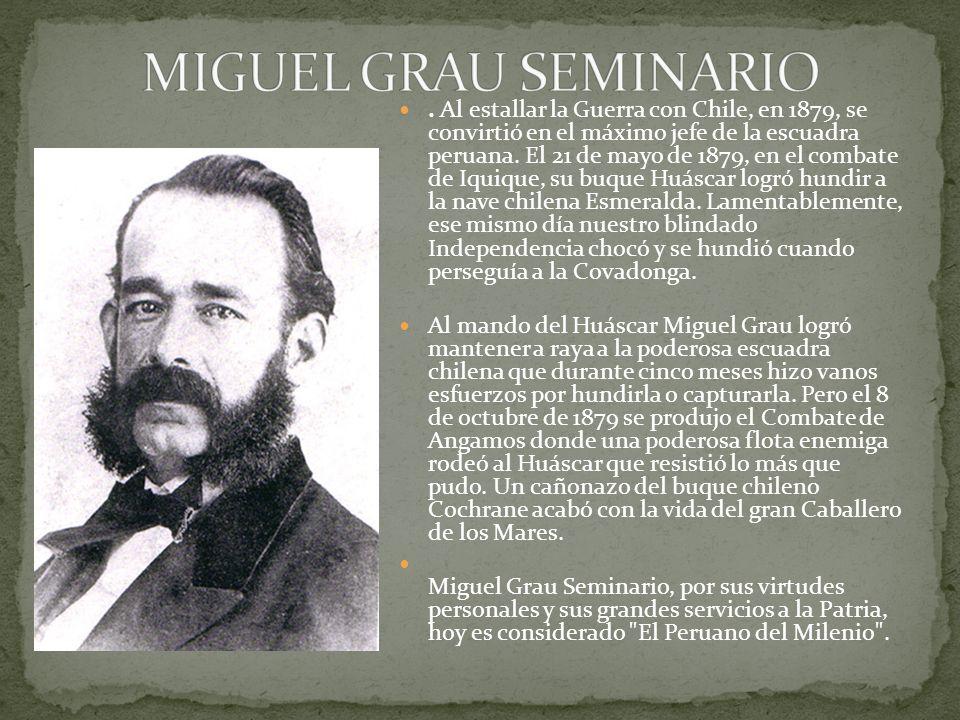 Al estallar la Guerra con Chile, en 1879, se convirtió en el máximo jefe de la escuadra peruana.