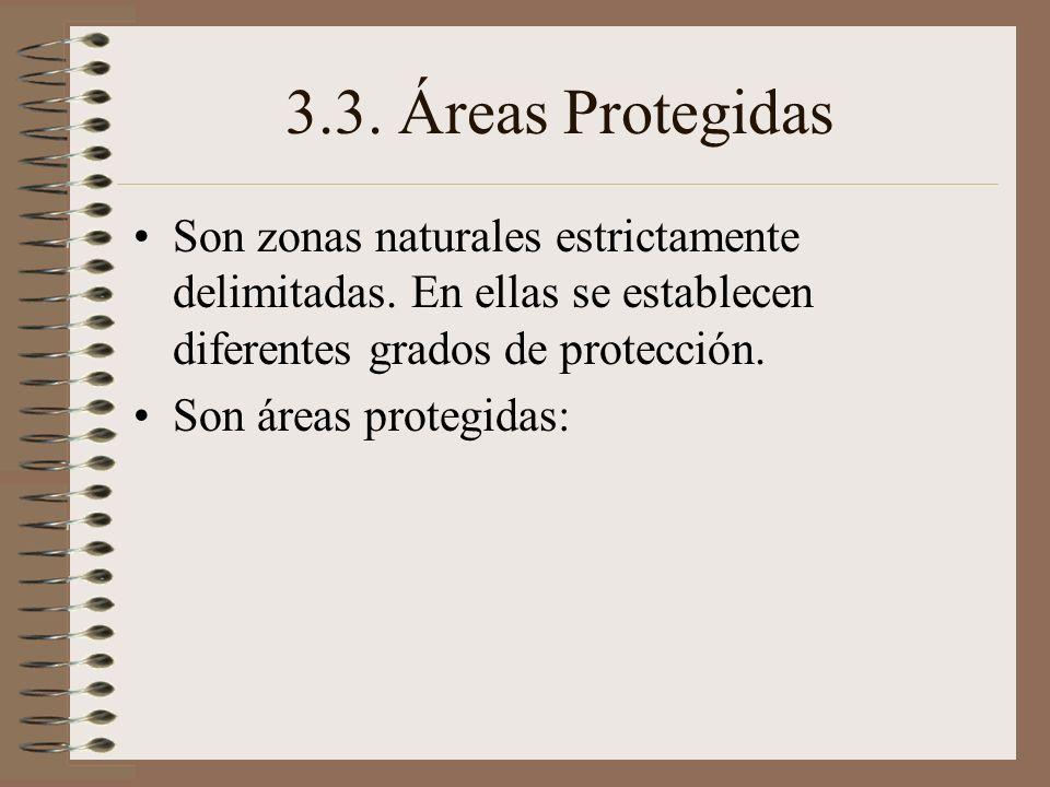 3.3. Áreas Protegidas Son zonas naturales estrictamente delimitadas. En ellas se establecen diferentes grados de protección. Son áreas protegidas: