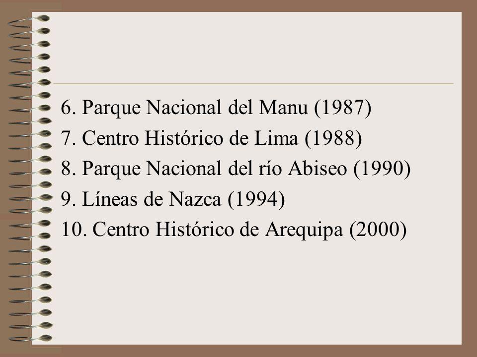 6. Parque Nacional del Manu (1987) 7. Centro Histórico de Lima (1988) 8. Parque Nacional del río Abiseo (1990) 9. Líneas de Nazca (1994) 10. Centro Hi