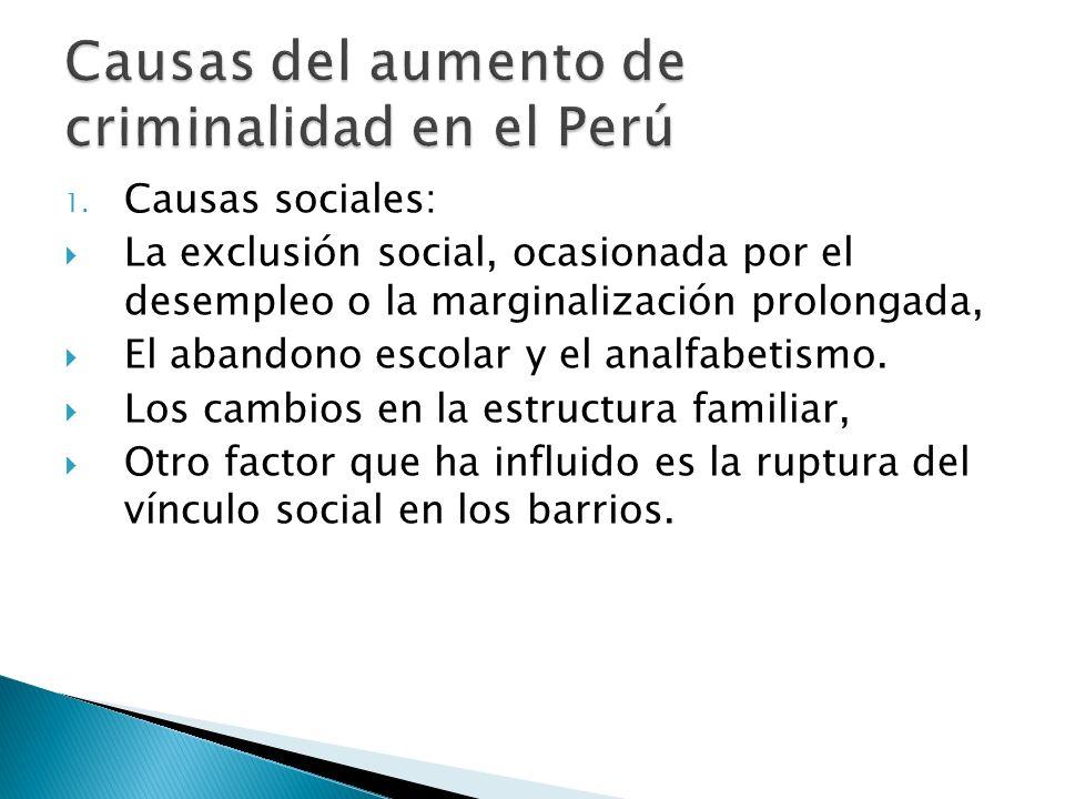 1. Causas sociales: La exclusión social, ocasionada por el desempleo o la marginalización prolongada, El abandono escolar y el analfabetismo. Los camb