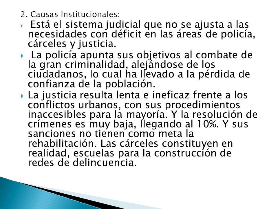 2. Causas Institucionales: Está el sistema judicial que no se ajusta a las necesidades con déficit en las áreas de policía, cárceles y justicia. La po