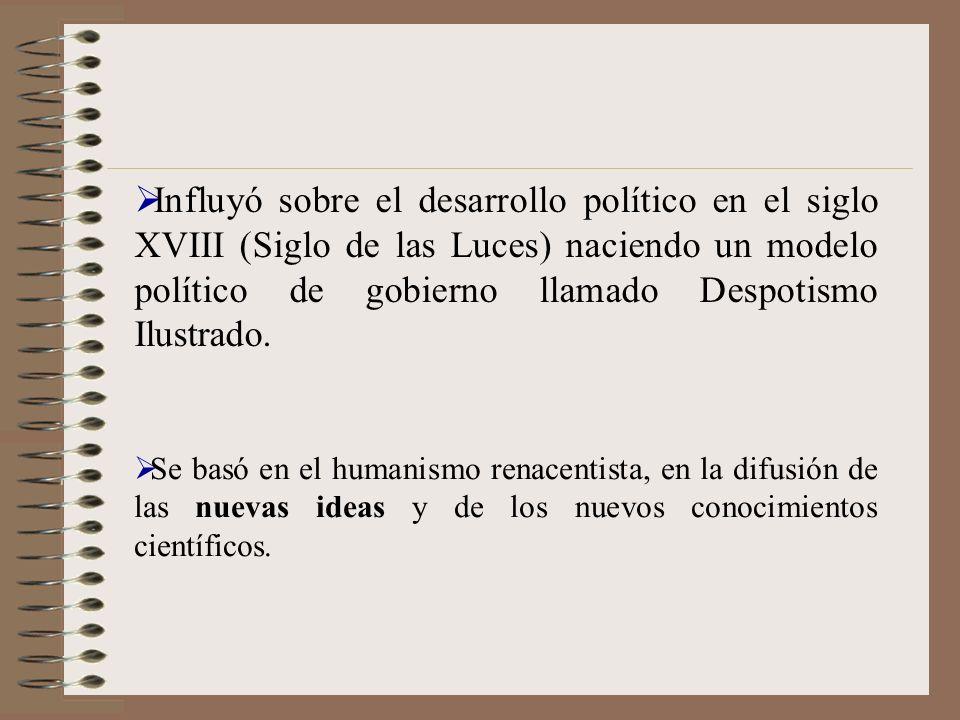 Influyó sobre el desarrollo político en el siglo XVIII (Siglo de las Luces) naciendo un modelo político de gobierno llamado Despotismo Ilustrado. Se b