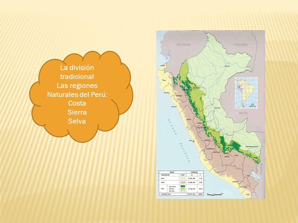 La división tradicional Las regiones Naturales del Perú: Costa Sierra Selva