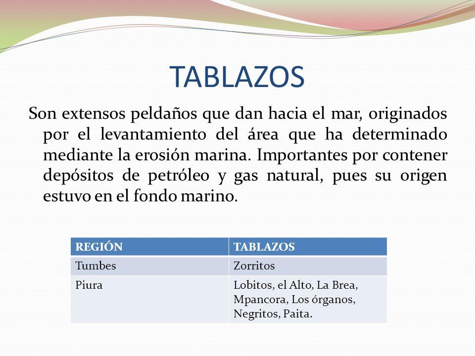 TABLAZOS Son extensos peldaños que dan hacia el mar, originados por el levantamiento del área que ha determinado mediante la erosión marina. Important
